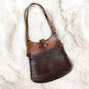 Vintages 60s or 70s Leather Boho Satchel Bag